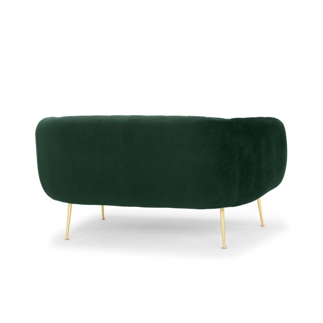 2010s Dark Green, Brushed Brass Channeled Settee For Sale - Image 5 of 6