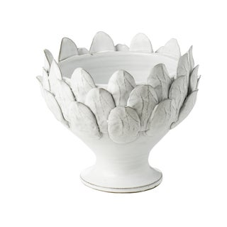 White Artichoke Footed Centerpiece, Small For Sale