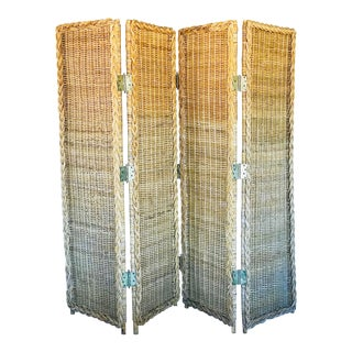 Mid Century Rattan Folding Screen For Sale
