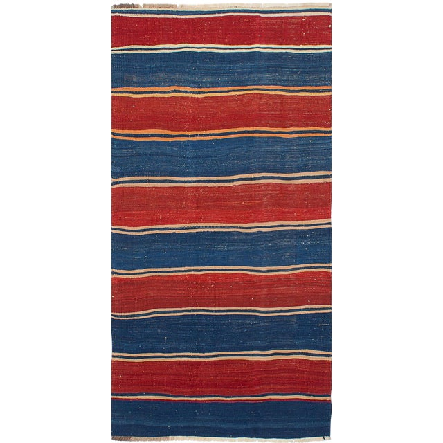 1950's Tribal Flat Weave Kilim Navy & Red Rug - 4′ × 8′ For Sale