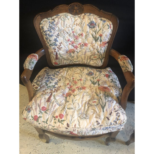 French Country French Boudoir Fauteuil Louis XV Chairs in Quilted Like Upholstery, Pair For Sale - Image 3 of 10