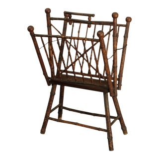 Antique 19th Century Burnt Bamboo Folding Magazine Rack For Sale