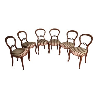 Set of 6 Victorian Antique Carved Wood Balloon Back & Upholstered Dining Chairs For Sale