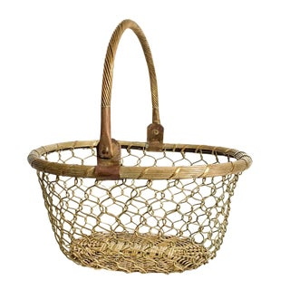 Mottahedeh-Style Brass Woven Basket
