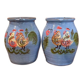 Mid-Century French Hand Painted Terracotta Pitchers From Normandy - a Pair For Sale