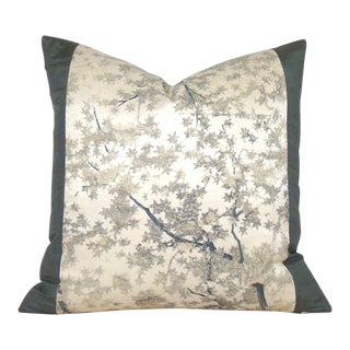 Tree Silhouette Japanese Silk Kimono Pillow Cover For Sale