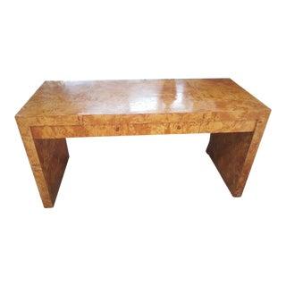 Parsons 3-Drawer Desk Milo Baughman Olive Burl Wood, 1970s