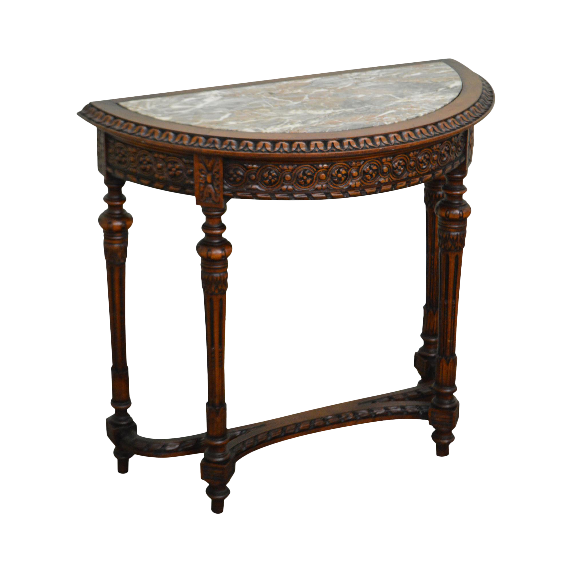 Antique French Louis XV Style Small Demilune Marble Top Console