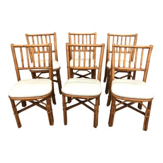 Mid-century Rattan Dining Chairs - Set of 6 For Sale