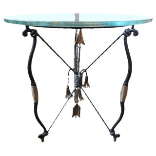 1970s Italian Giacometti Inspired Iron and Brass Side Table For Sale