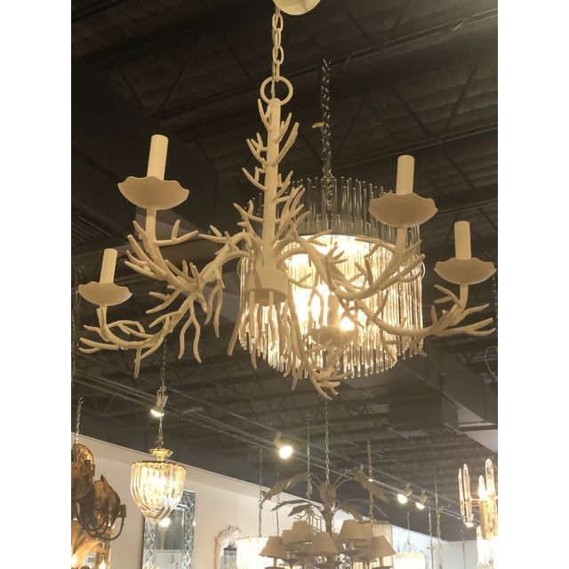 Vintage Palm Beach Metal Coral 5 Light Chandelier For Sale In West Palm - Image 6 of 10