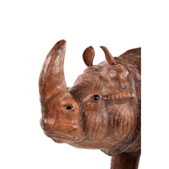 Brown Vintage Leather Rhinoceros Sculpture For Sale - Image 8 of 9