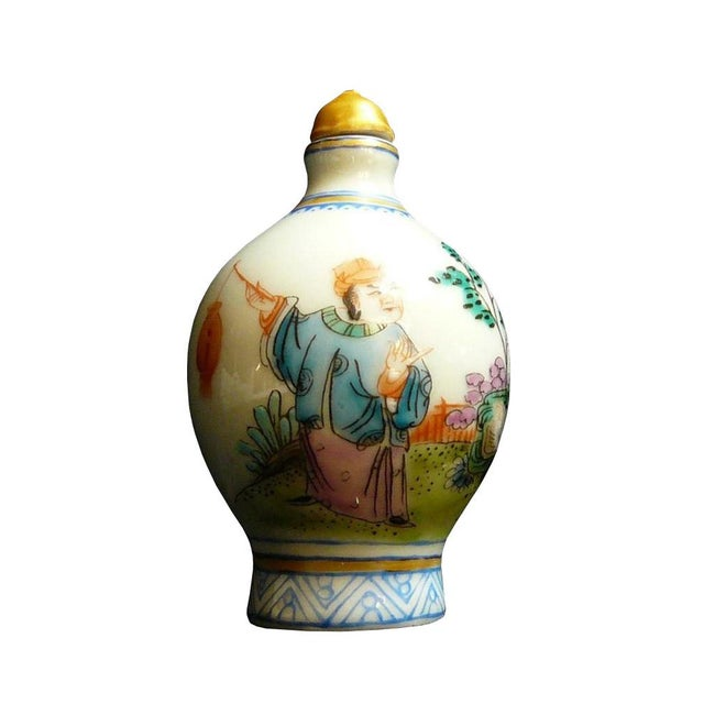 This is a decorative piece handmade and painted with the oriental scenery. Dimensions: Dia 2x h3.5 approx. Origin: China...