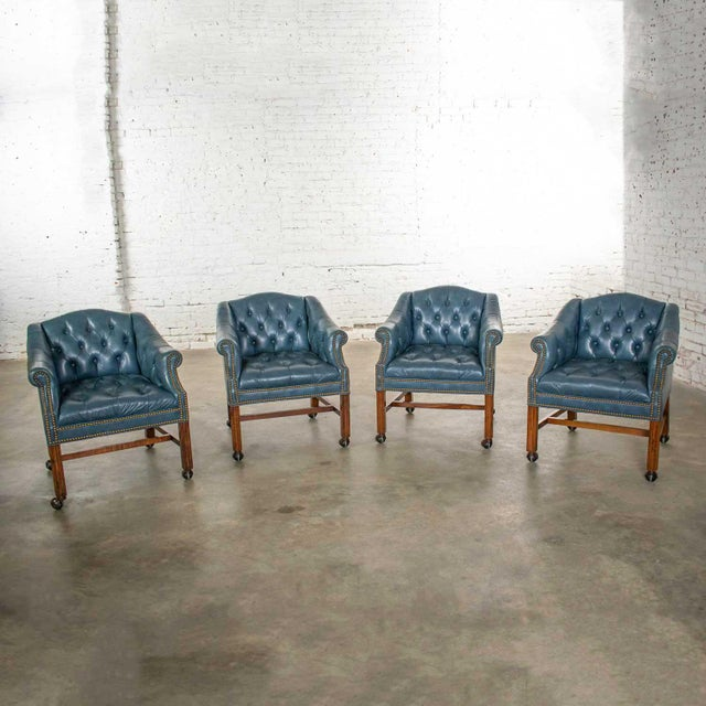 Wood Blue Vinyl Faux Leather Chinese Chippendale Tub Style Rolling Game Chairs Set of Four For Sale - Image 7 of 13