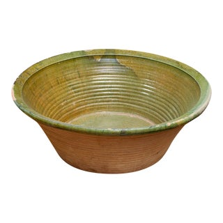 Very Large Green Glazed Dairy Bowl, French circa 1880 For Sale