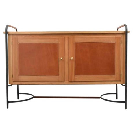 Rare Jacques Adnet Equestrian Style Leather, Ash and Iron Cabinet, 1950s, France For Sale