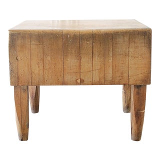 20th Century French European Butcher Block Table For Sale