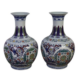 Blue Chinese Antique Famille Rose Porcelain Vases - a Pair For Sale