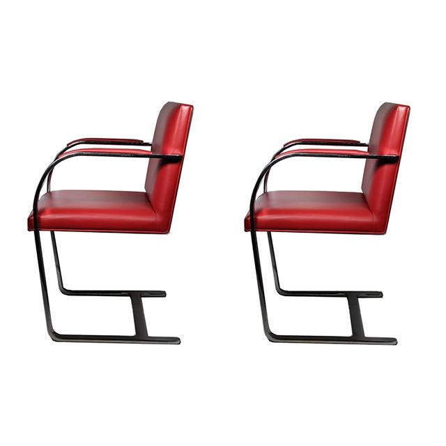 Red Leather Brno Flat Bar Armchair by Gordon International - Image 3 of 7