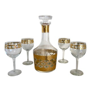 Mid 20th Century Culver Valencia Decanter and Wine Glasses Set Mid Century - Set of 6 For Sale