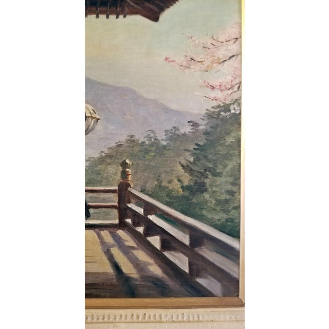 Hiyashi NoBuo Oil on Canvas - Cherry Blossom Deck For Sale - Image 4 of 6