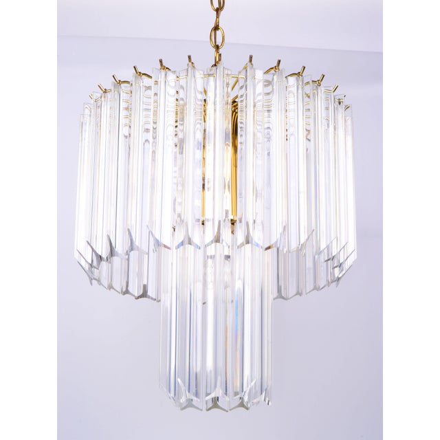 Round Two Tier Brass and Lucite Chandelier - Image 2 of 11