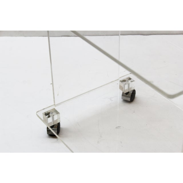 Modern Acrylic Bar Cart or Side Table on Casters For Sale In New York - Image 6 of 9