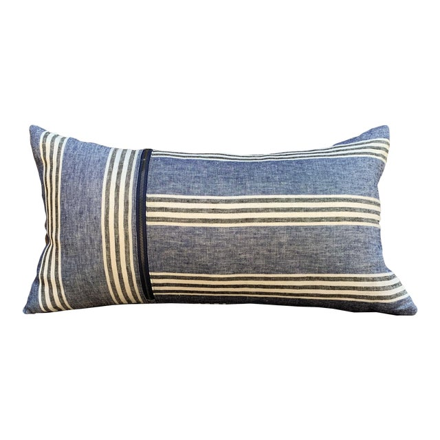 Country Blue Linen Striped Lumbar Pillow For Sale