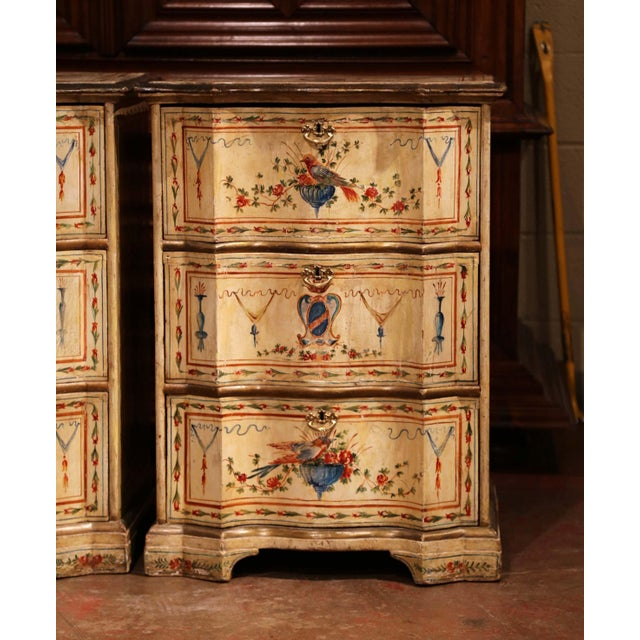 Mid 19th Century 19th Century Italian Carved Chests of Drawers With Bird Painted Decor - a Pair For Sale - Image 5 of 13