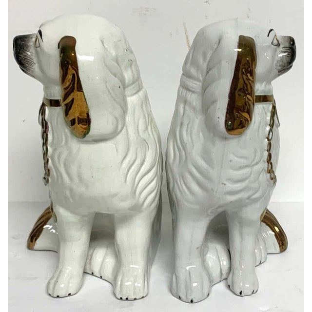 Metal Tall Staffordshire Copper Luster Dogs With Separated Legs - a Pair For Sale - Image 7 of 9