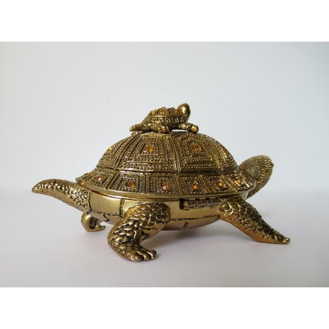 Brass Greek Key Gilt Brass Bejeweled Turtle Lidded Keepsake Box, Letter Opener & Magnifier Set in One - 3 Pieces For Sale - Image 7 of 13