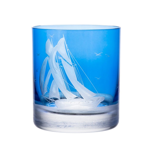 Nautical ARTEL Golden Age of Yachting Collection Double Old Fashioned Glass in Endurance and Centennial in Blue - Set of 6 For Sale - Image 3 of 4