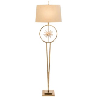 Modern Brass and Rock Crystal Sphere Floor Lamp For Sale