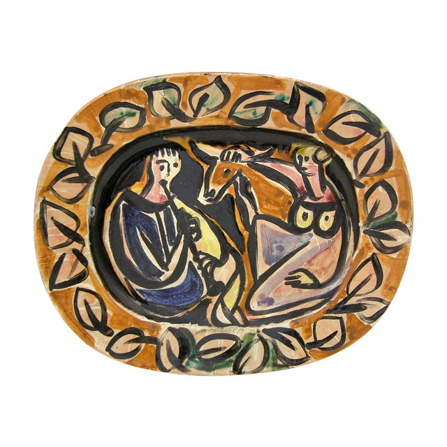 Picasso Style Mid-Century Modern Ceramic Wall Plaque Sculpture Plate MCM - Image 1 of 11