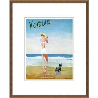 """Beach Dog Woman"" Vintage Vogue Cover Bronze Framed Giclee Reproduction For Sale"
