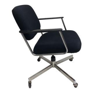 Vintage Mid Century Modern Black Swivel Office Chair by Hon For Sale