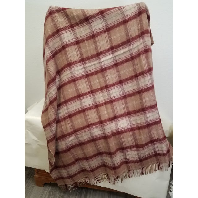 Wool Throw Green, Red, Brown and White in a Plaid Design - Made in England For Sale - Image 4 of 11