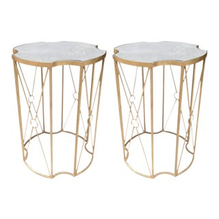 Two Gilt Metal Side Tables With Mirrored Top in the Style of Baguès For Sale