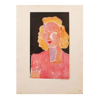 "1946 Henri Matisse Original ""Young Woman in Pink"" Parisian Period Lithograph For Sale"