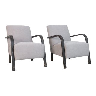 1950s Upholstered Czech Armchairs - a Pair For Sale
