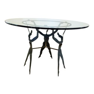 20th Century Figurative Patenated Steel Table Base with Glass Top For Sale