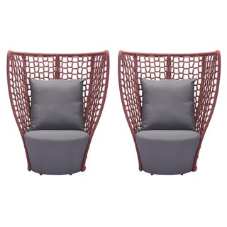 High Back Rope Outdoor Chairs - and Coffee Table Set