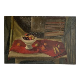 Vintage Dark Still Life Oil Painting 1943 For Sale