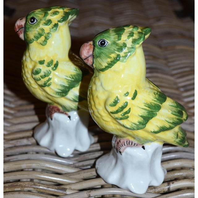 1970s Italian Majolica Pottery Parakeets - a Pair For Sale - Image 4 of 11