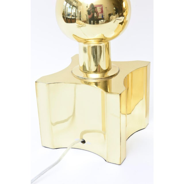 Tommi Parzinger for Stiffel Mid-Century Modernist Brass Ball Lamps - a Pair For Sale - Image 9 of 10