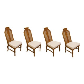 Henry Link Dixie Contemporary Style Cane Back Dining Side Chairs - Set of 4 For Sale