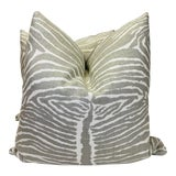 """Image of Brunschwig & Fils """"Le Zebre Pewter"""" 22"""" Pillows-A Pair For Sale"""
