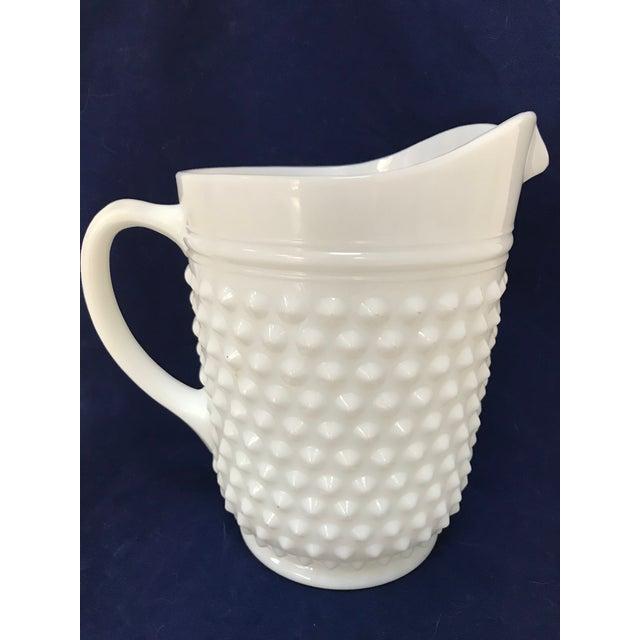 Contemporary Fenton White Milkglass Hobnail Pitcher & Glasses For Sale - Image 3 of 7