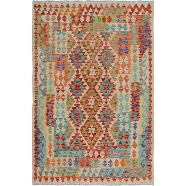 "Textile Hand Knotted Traditional Design Uzbek Kilim. 5'0"" X 6'8"" For Sale - Image 7 of 7"