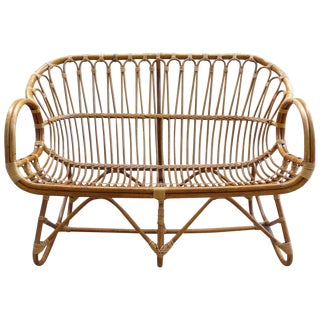 1970s Italian Bent Rattan Loveseat For Sale